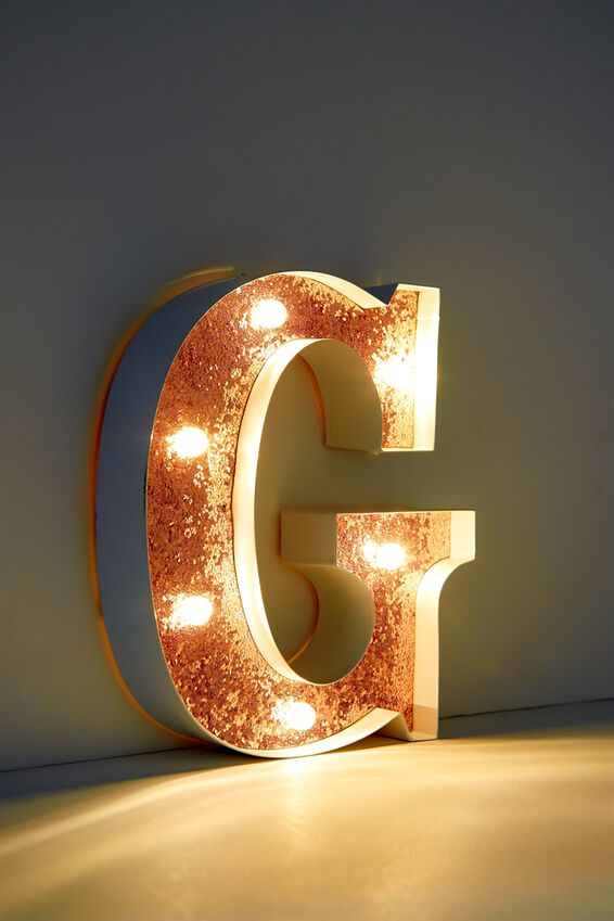 Marquee Letter Lights Premium 16cm Midi, WHITE WITH ROSE GOLD G
