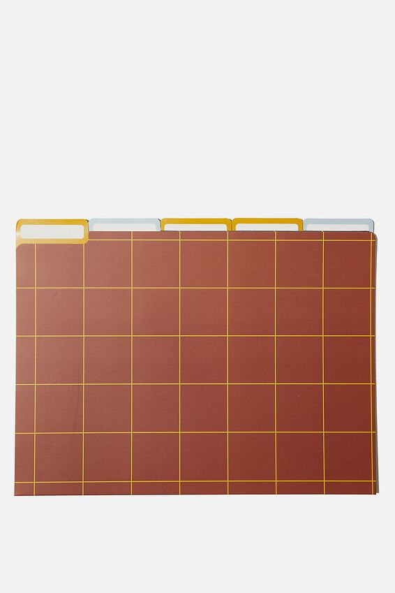 Manila Folders 5Pk, NAVY, KHAKI, RUST