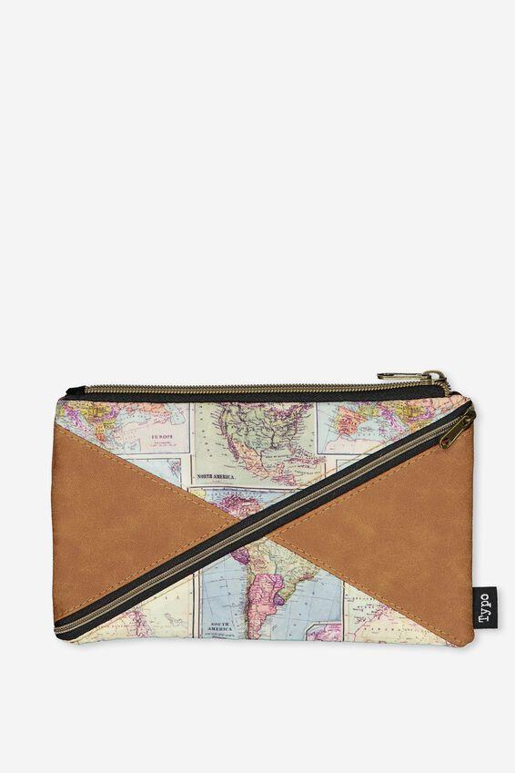 Quad Pencil Case, TAN MAP