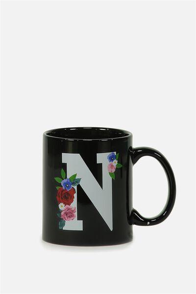 Alpha Anytime Mug, FLORAL ALPHA N