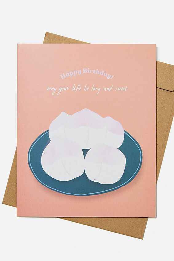 Funny Birthday Card, RG HK PEACH BUNS