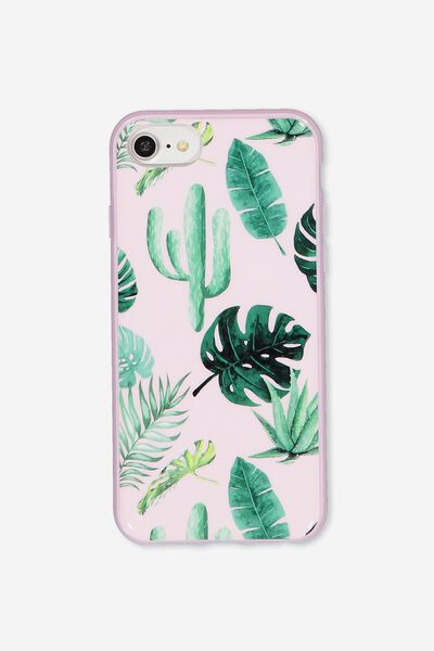 Transparent Phone Cover Universal 6,7,8, PINK PALM