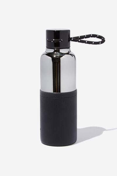 546a8251d4 The Loop Metal Drink Bottle, GREY & BLACK. Typo