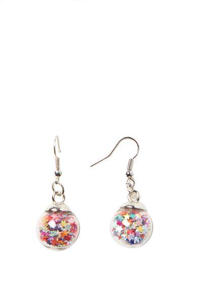 Novelty Earrings, GLITTER BALL STARS