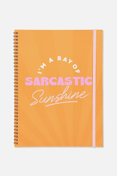 A4 Spinout Notebook Recycled, RAY OF SARCASTIC SUNSHINE