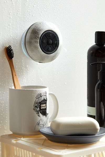 Wireless Led Shower Speaker, SPACEY TIE DYE COOL GREY 2.0