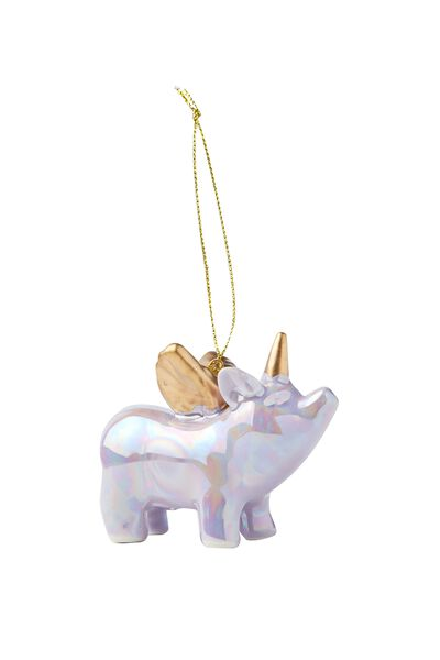 Ceramic Ornament, FLYING PIG LILAC