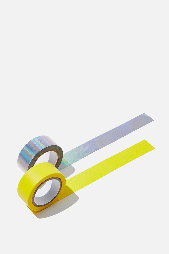 Washi Tape 2Pk, YELLOW & HOLOGRAPHIC