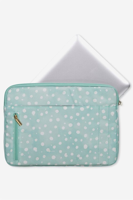 Take Charge Laptop Cover 13 inch, AQUA POLKA