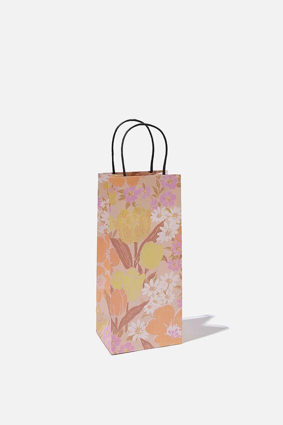 Bottle Gift Bag, SAND GOLDIE FLORAL