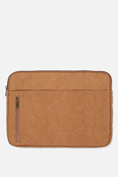 Take Charge Laptop Cover 13 inch, MID TAN TOOLED PAISLEY