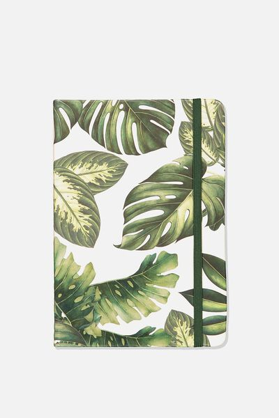 A5 Fabric Undated Daily Diary, MONSTERIA LEAF