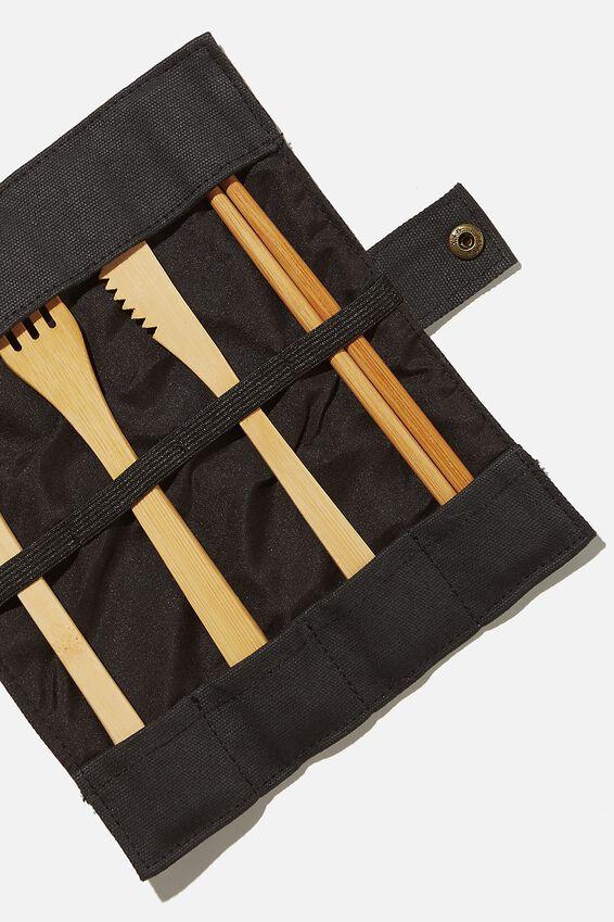 Cut My Lunch Cutlery Roll, BLACK