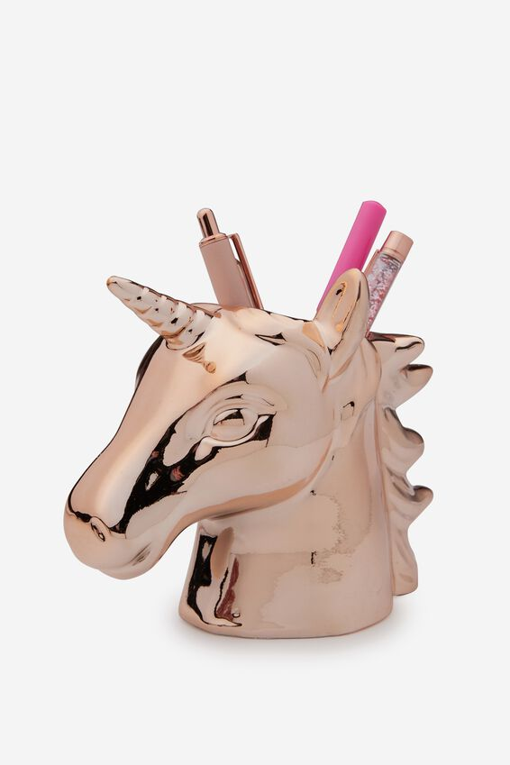 Pen Holder, ROSE GOLD UNICORN HEAD