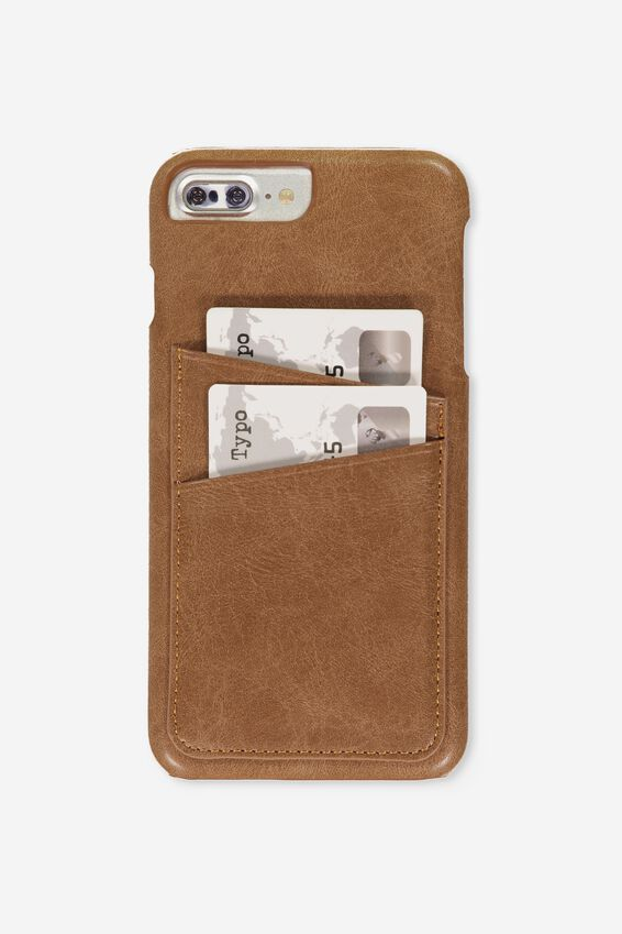 The Cardholder Phone Cover 6,7,8 Plus, TAN PU