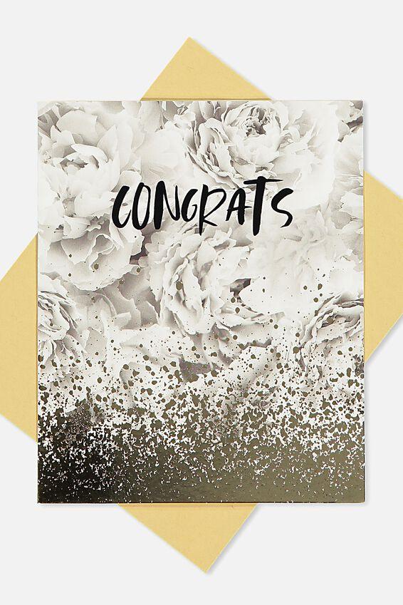 Wedding Card, CONGRATS MARBLE GOLD SPLATTER
