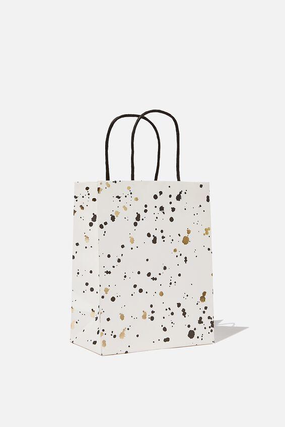 Get Stuffed Gift Bag - Small, WHITE GOLD SPLATTER