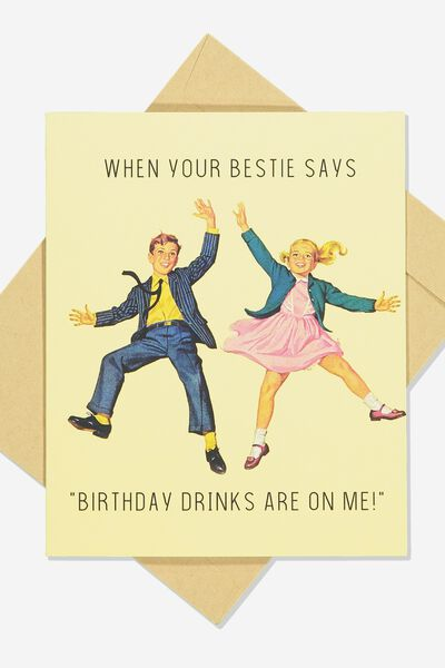 Funny Birthday Card, RETRO BESTIE BIRTHDAY DRINKS