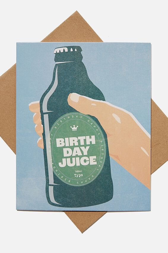 Funny Birthday Card, BIRTHDAY JUICE BOTTLE