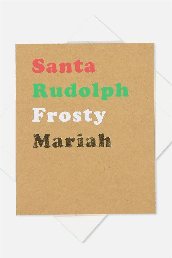 2018 Christmas Card, LCN SANTA RUDOLPH FROSTY MARIAH