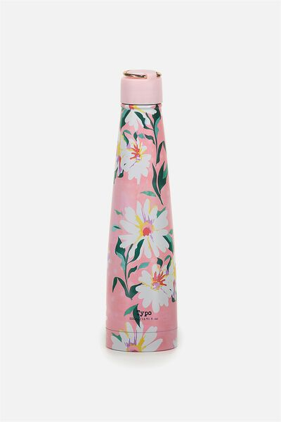 Triangle Metal Drink Bottle, PINK DAISY