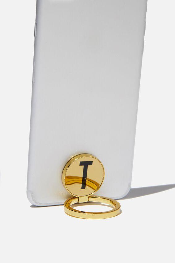 Metal Alpha Phone Ring, GOLD T