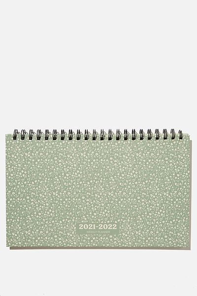2021 22 Wide Desk Calendar, GUM LEAF MEADOW DITSY