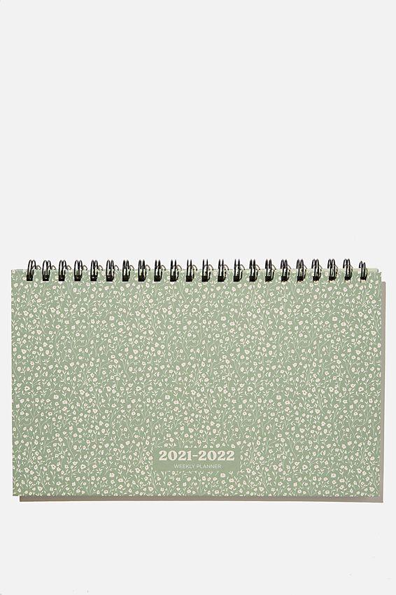 2021 22 Wide Desk Calendar, GUM LEAF MEADOW DITSY