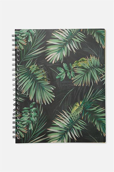 A4 Campus Notebook, JUNGLE LEAVES COLOURED