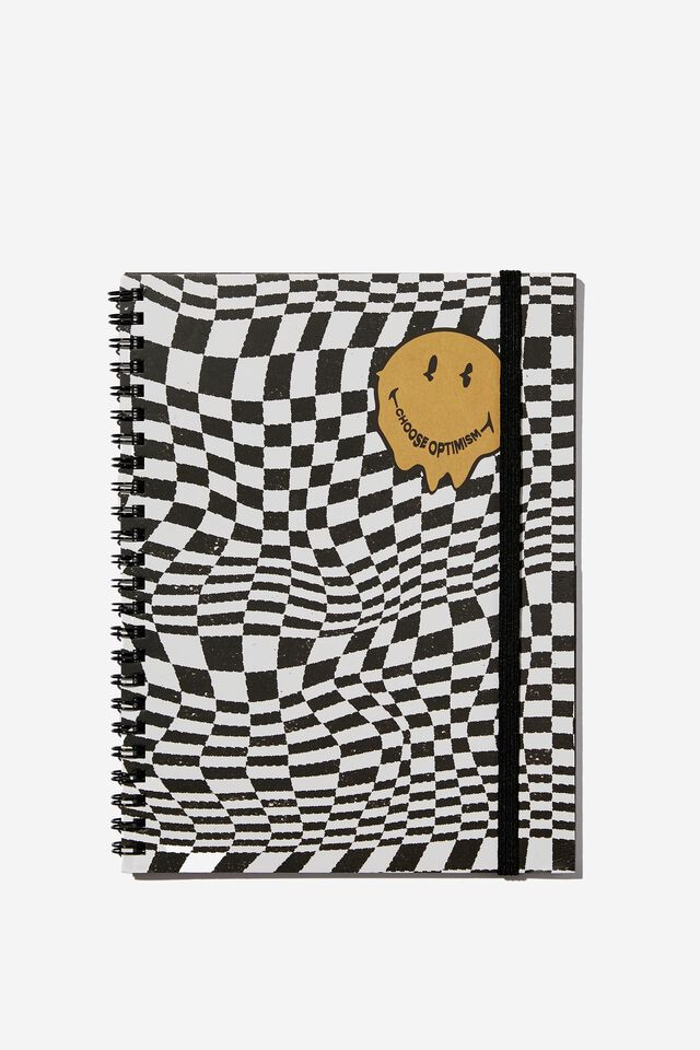 A5 Smiley Spinout Notebook Recycled, LCN SMI SMILEY WARPED CHECKERBOARD