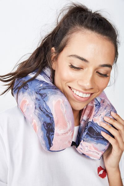 Travel Neck Pillow, MOODY MARBLE