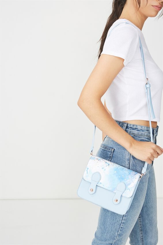 Mini Buffalo Satchel Bag, BLUE MARBLE