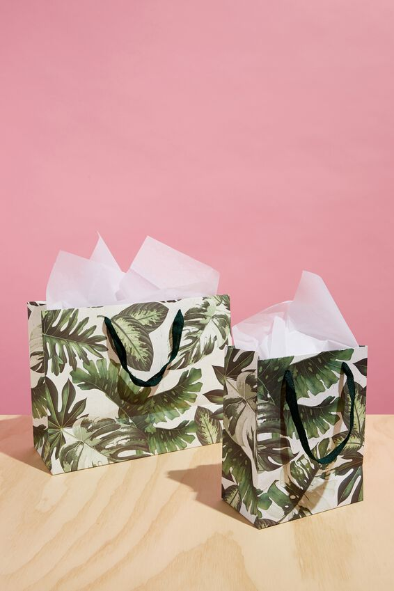 Medium Gift Bag with Tissue Paper, VARIGATED MONSTERA