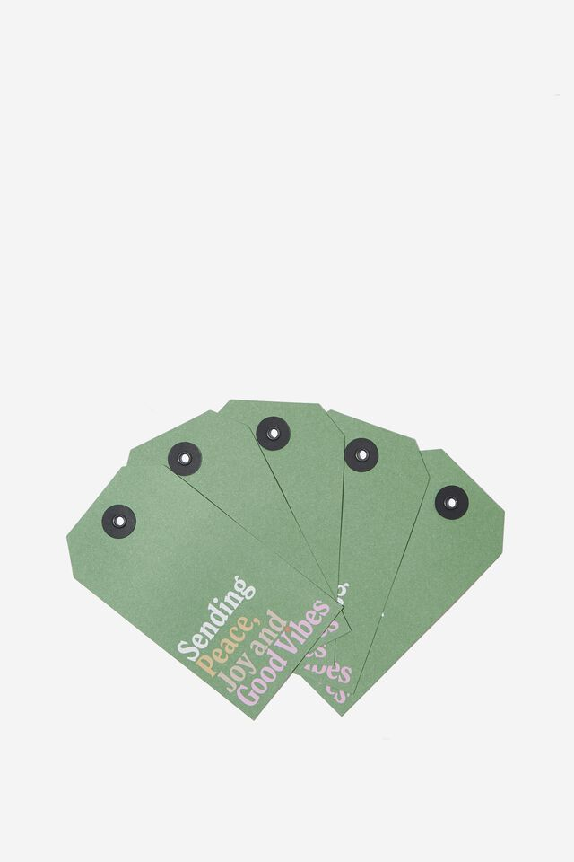 Gift Tag 5 Pack, JOY AND GOOD VIBES GREEN