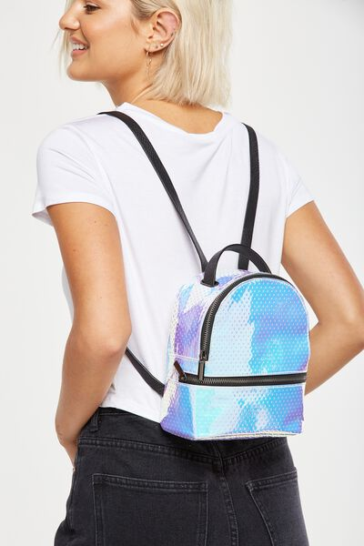 Mini Fashion Backpack, IRIDESCENT POLKA