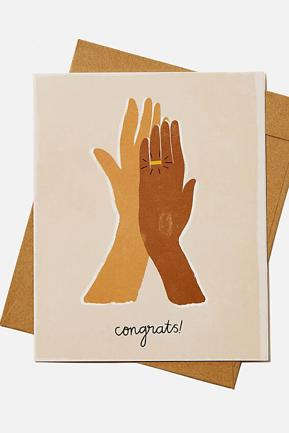 Engagement Card, CONGRATS ILLO HANDS