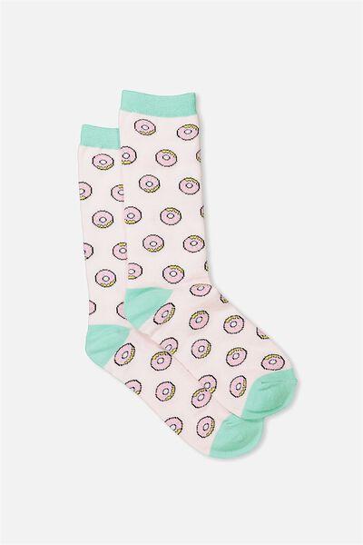 Womens Novelty Socks, PINK DONUT