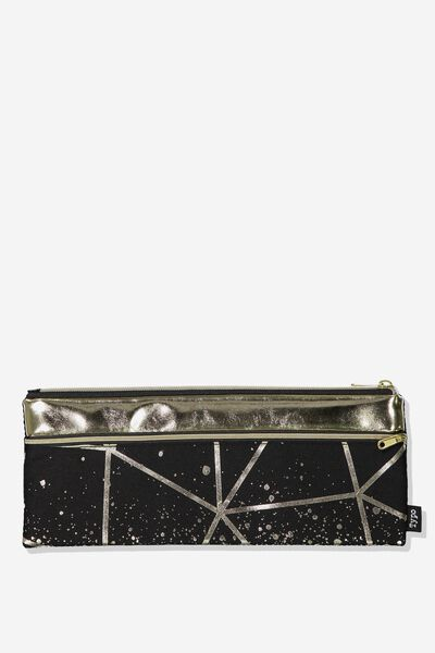 Patti Pencil Case, BLACK GEO
