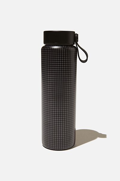 On The Move Metal Drink Bottle 500Ml, BLACK GRID