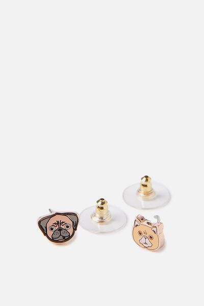 Novelty Earrings, PUG & CAT