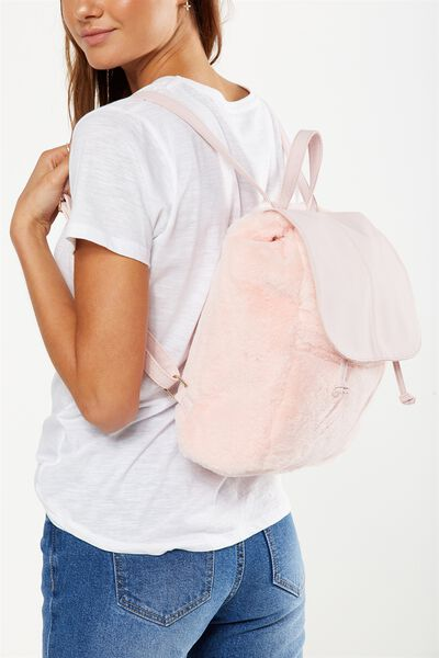 Fold Over Backpack, BLUSH FAUX FUR
