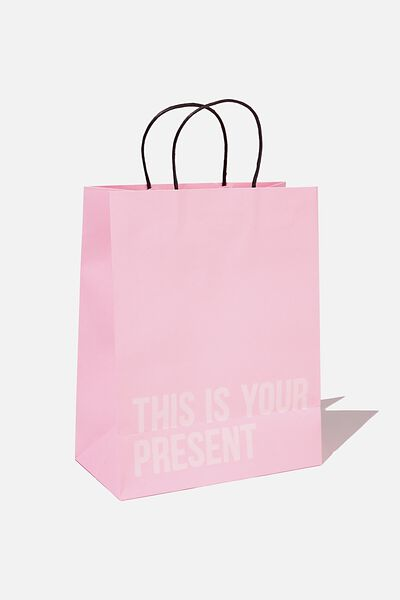 Get Stuffed Gift Bag - Medium, PLASTIC PINK THIS IS YOUR PRESENT