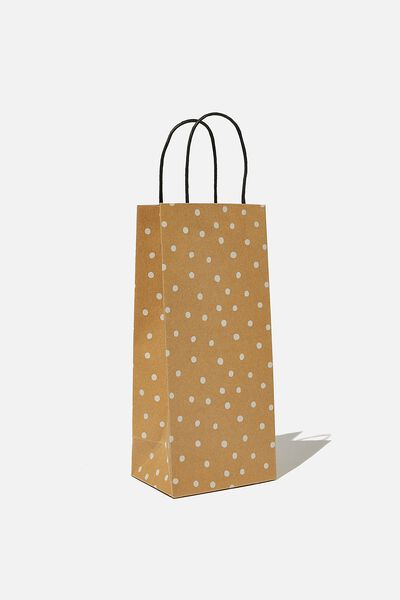 Bottle Gift Bag, KRAFT WHITE SPOT