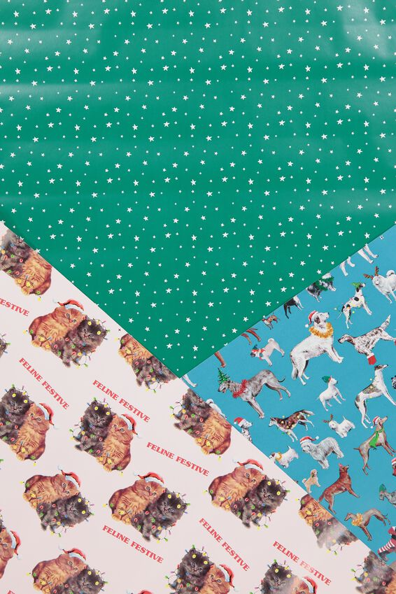 2019 Christmas Roll Wrap 3Pk, CATS & DOGS