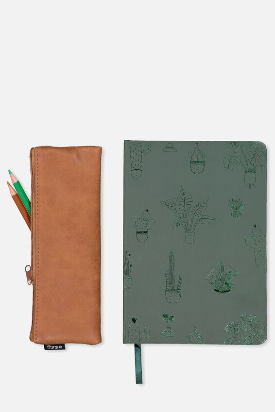 Notebook And Case Set, GREEN AND TAN CACTUS