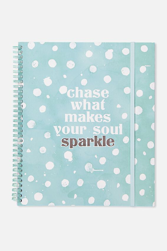 College Ruled Spinout Notebook V, AQUA POLKA SOUL SPARKLE