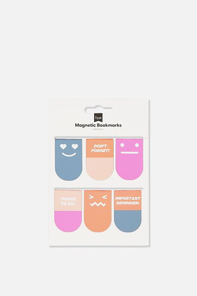 6Pk Magnetic Bookmark, PINK & BLUE