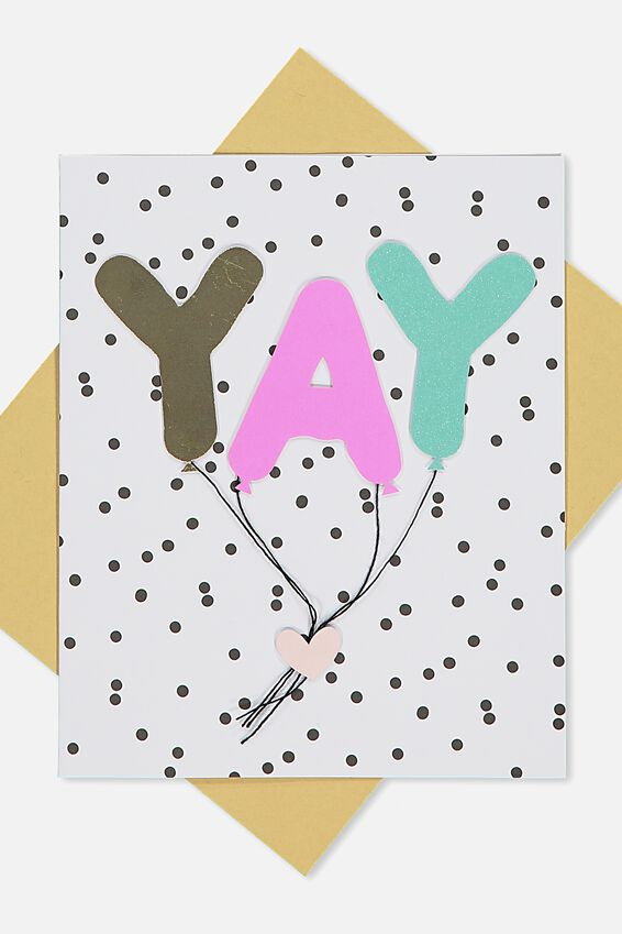 Premium Nice Birthday Card, YAY EMBELLISHED GLITTER