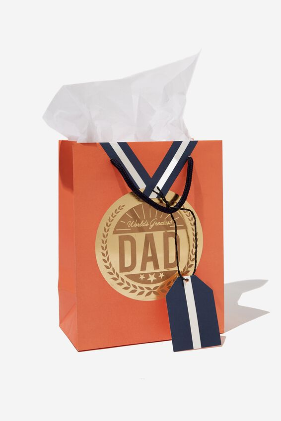 Small Gift Bag with Tissue Paper, MEDAL ORANGE