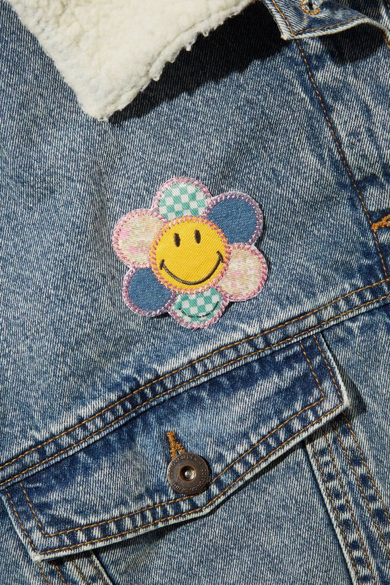 Smiley Fabric Badge, LCN SMI SMILEY COTTAGE CORE FLOWER
